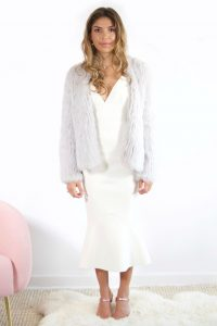 Coletta Light Grey Fur Jacket by Bubish