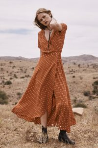 Lilly Wrap Maxi Dress in Classic Polka Dot Rust by Auguste the Label