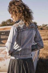 Ruby Floral Denim Jacket in Blue Washed Denim by Auguste the Label