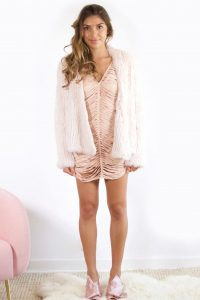 Valencia Blush Fur jacket by Bubish
