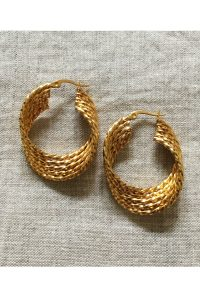 Wave Hoop Earrings by Brie Leon