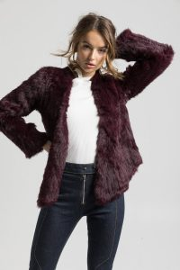 Valencia Burgundy Fur Jacket by Bubish