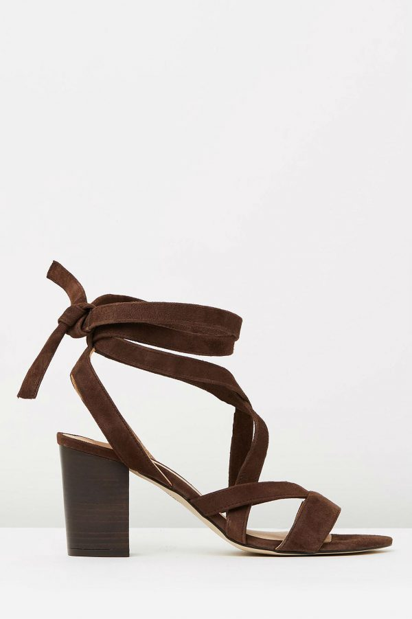 Lace Up Mid Heel in Chocolate Suede by Mode Collective