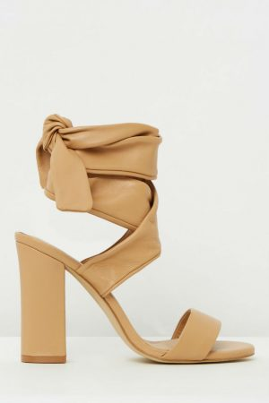 Wrap Around Sandal in Camel Nappa Leather by Mode Collective