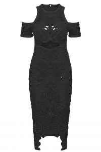 Wild Hearts Midi Dress in Black by Thurley