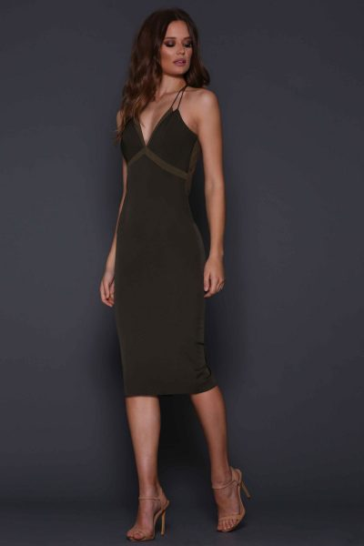Sonata Dress in Olive by Elle Zeitoune