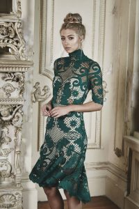 Babylon Lace Dress in Emerald by Thurley