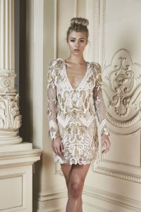Vivaldi Mini Dress in Ivory & Gold by Thurley