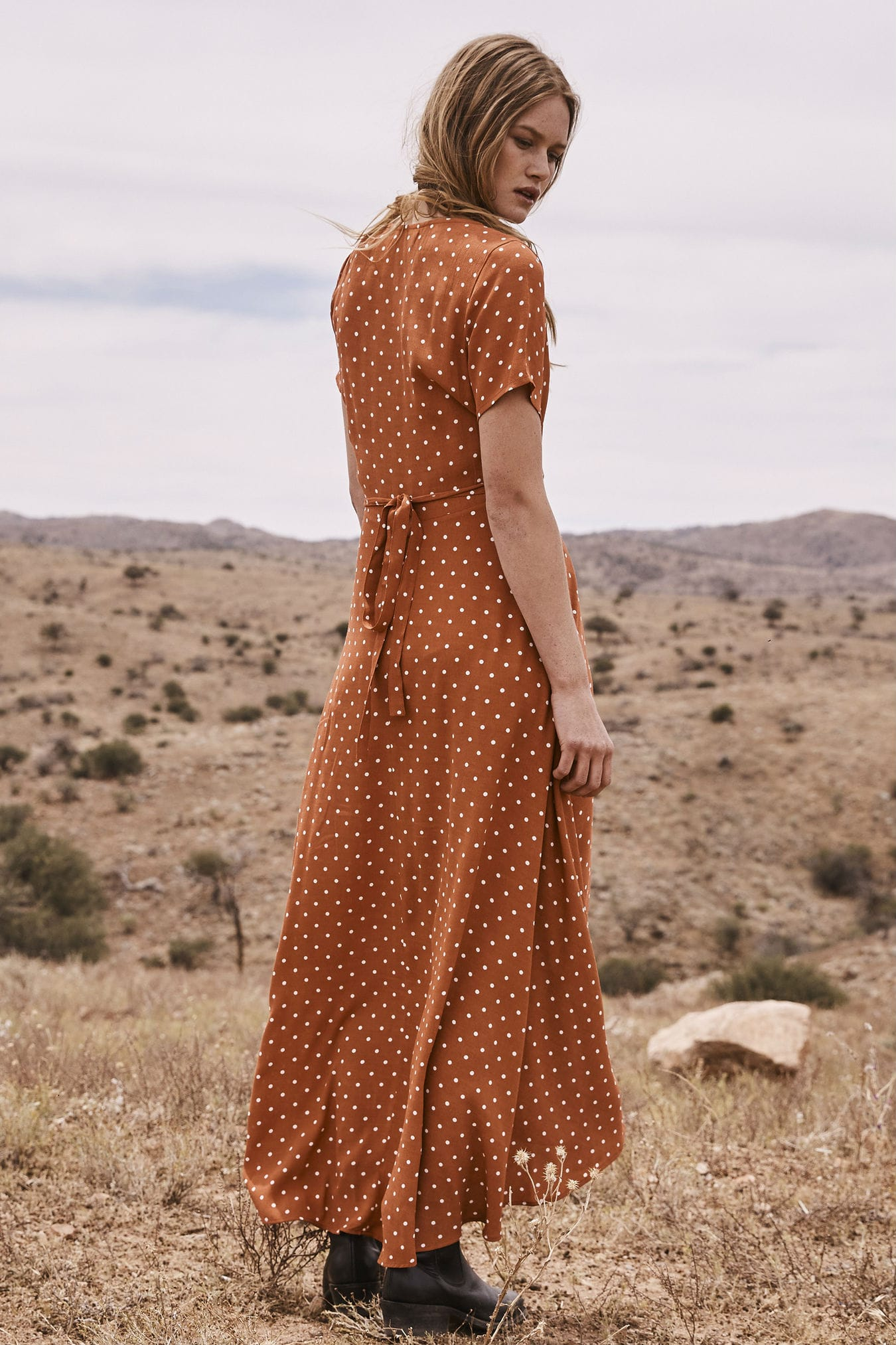 3280d4bb3a74e9 Lilly Wrap Maxi Dress Classic Polka Dot Rust by Auguste the Label ...
