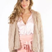 Marseille Fur Jacket in Beige by Bubish