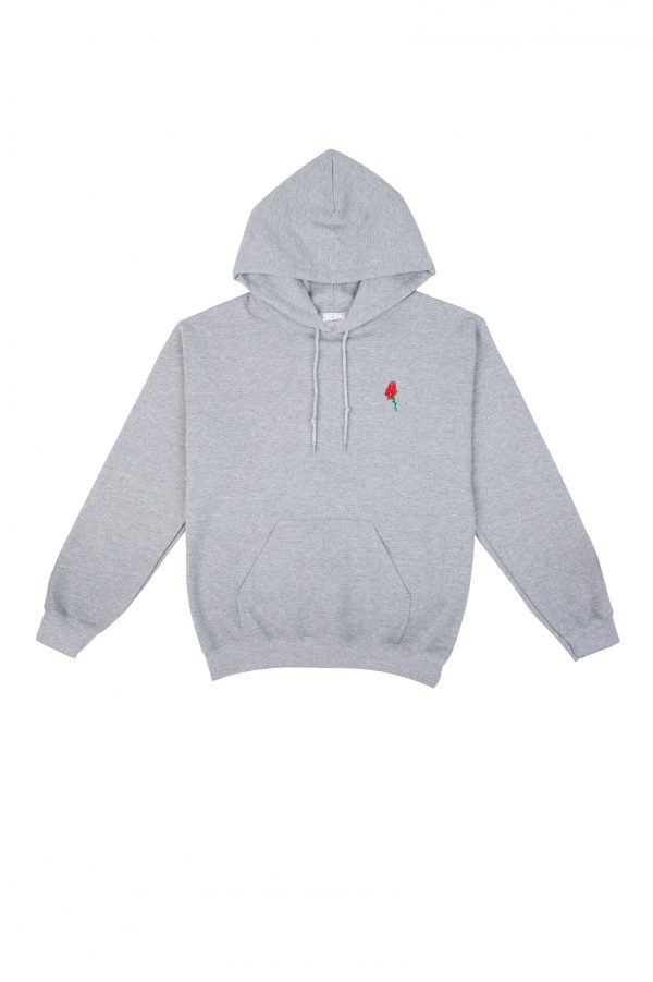 Red Rose Hoodie in Grey Marle by Double Trouble Gang