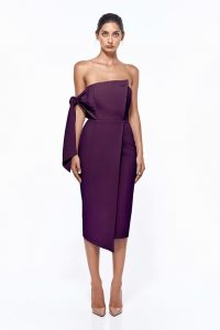 Romi Structured Midi Dress in Plum by Misha Collection