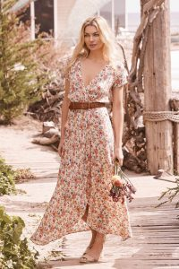 Wild Rose Maxi Wrap Dress Natural by Auguste the Label