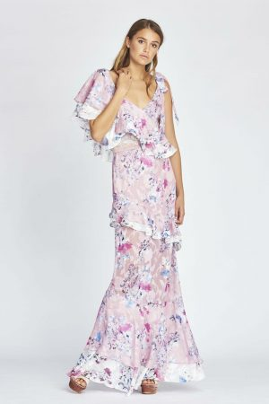 Alessandra Ruffle Maxi in Monet Bloom by We Are Kindred