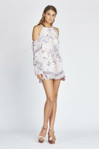 Camilla Cold Shoulder Romper in Lilac Fields by We Are Kindred