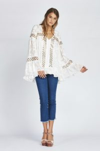 Stephanie Oversized Blouse in Ivory Devore by We Are Kindred