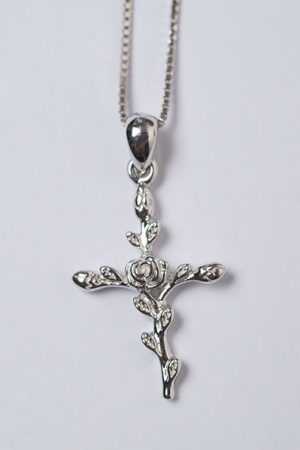Rose Crucifix in Silver by Brie Leon