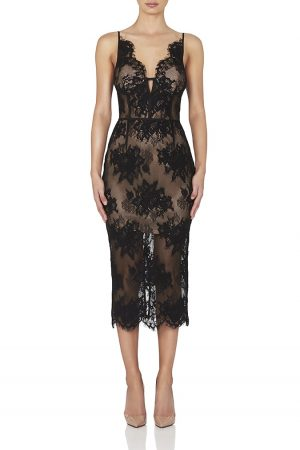 Finley Midi Dress in Black by Misha Collection