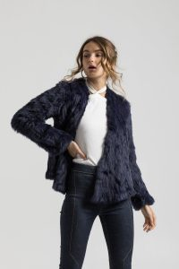 Valencia Navy Blue Fur Jacket by Bubish