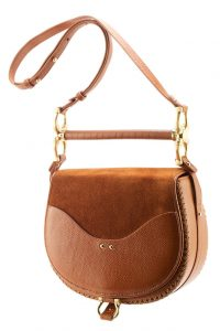 Babylon Bar Bag in Cognac Suede by Sancia