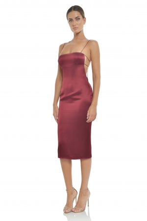 Sara Midi Dress in Plum by Misha Collection
