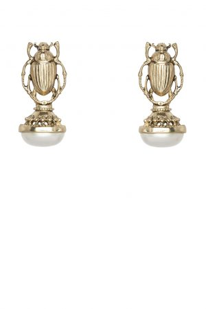 SCARAB PEARLA EARRING GOLD BY KITTE
