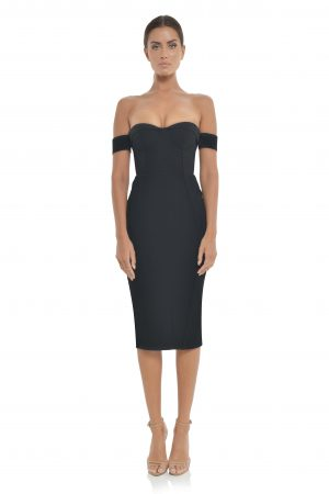 Chloe Midi Dress in Black by Misha Collection