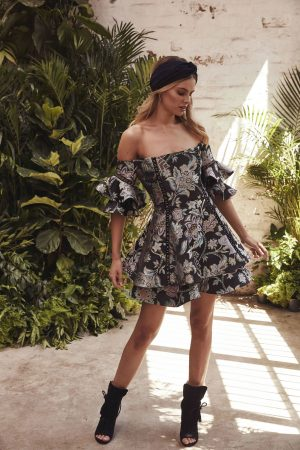 Oriental Chintz Jacquard Mini Dress