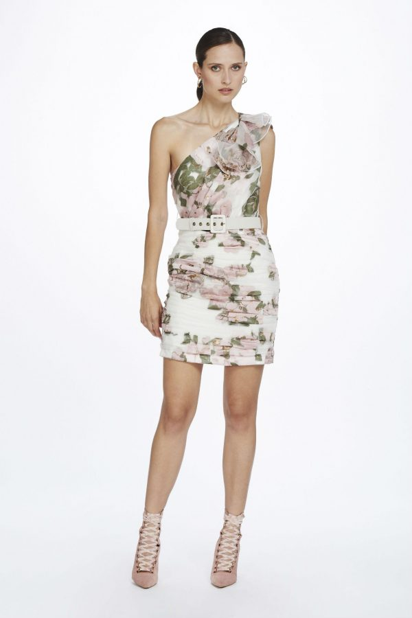 Colette One Shoulder Ruffle Dress by We Are Kindred