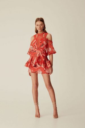 Folklore Print Lace Up Dress by Thurley