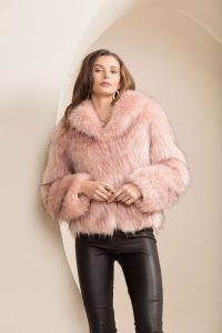 New York Faux Fur Pink Coat by Bubish