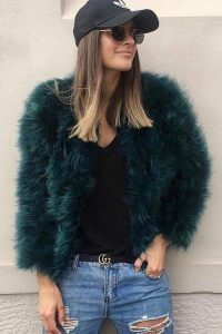 Emerald Feather Jacket by Zaliah
